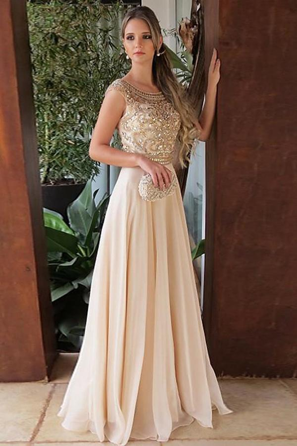 Elegant Chiffon A Line Cap Sleeves Round Neck Long Prom Dress with Beading, MP195