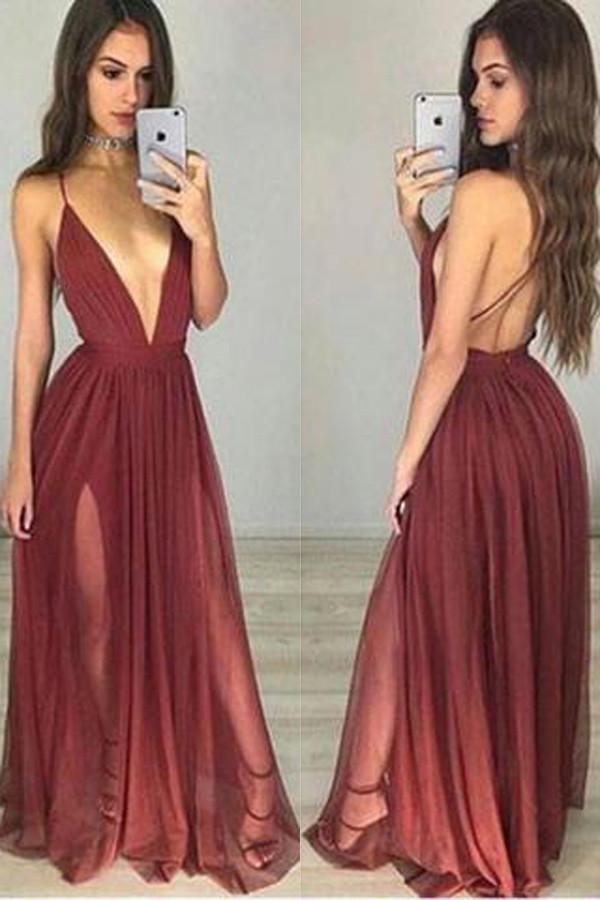 Burgundy V neck Tulle Simple Long Prom Dress, Party Dresses, Evening Dress, MP160