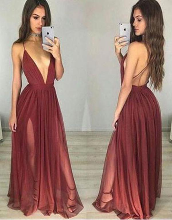 Burgundy V neck Tulle Simple Long Prom Dress, Party Dresses, Evening Dress, MP160 at musebridals.com