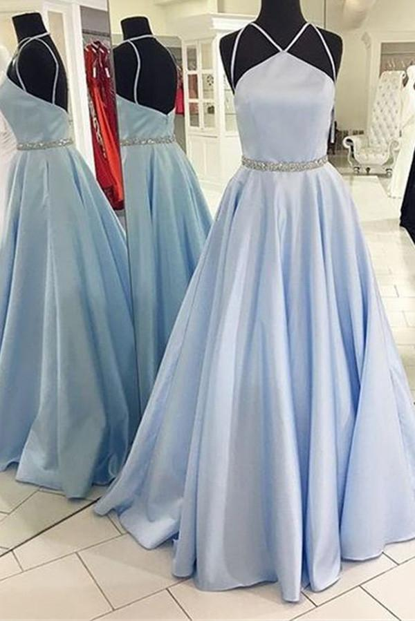 Charming Blue A-line Floor Length Halter Backless Evening Dresses, Prom Dresses, MP418
