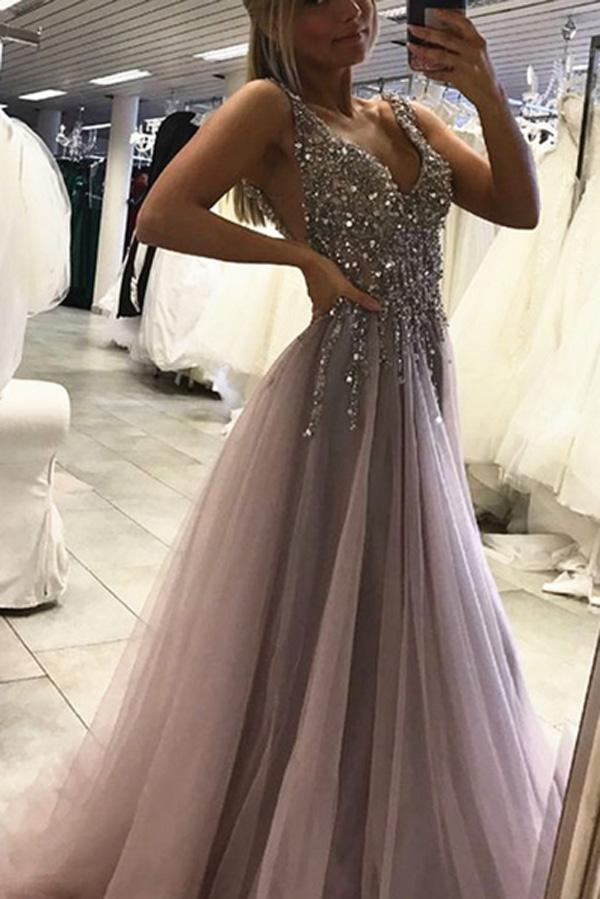 Tulle Beaded Side Split Sleeveless Long Prom Dresses, Party Dress, MP386