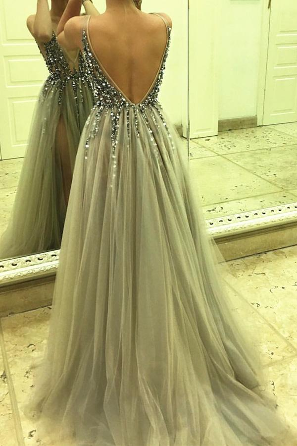 Tulle Beaded Side Split Sleeveless Long Prom Dresses, Party Dress, MP386|musebridals.com