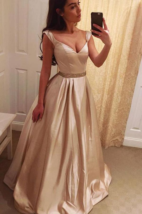 Charming A-Line V-Neck Prom Dresses Long, Evening Dress Formal Dress, MP199