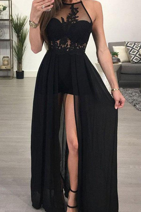 Popular See-through Chiffon A-line Black Halter Long Prom Dresse with Slit, MP162