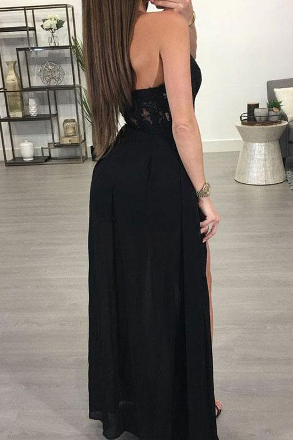 Popular See-through Chiffon A-line Black Halter Long Prom Dresse with Slit, MP162 at musebridals.com
