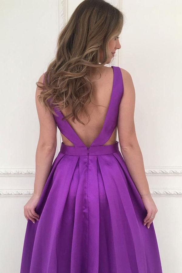 Simple Purple Satin A-line V-neck Long Prom Dresses, Bridesmaid Dress, MP374|musebridals.com