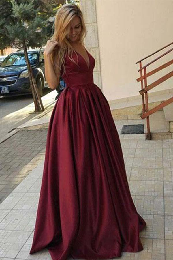 Burgundy Floor Length Simple V Neck Long Prom Dress, Evening Dresses, MP159 at musebridals.com
