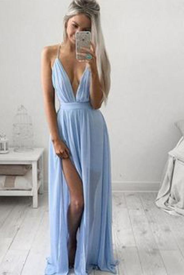Blue Chiffon Casual Spaghetti Straps Long Prom Dress with Side Slit, MP388