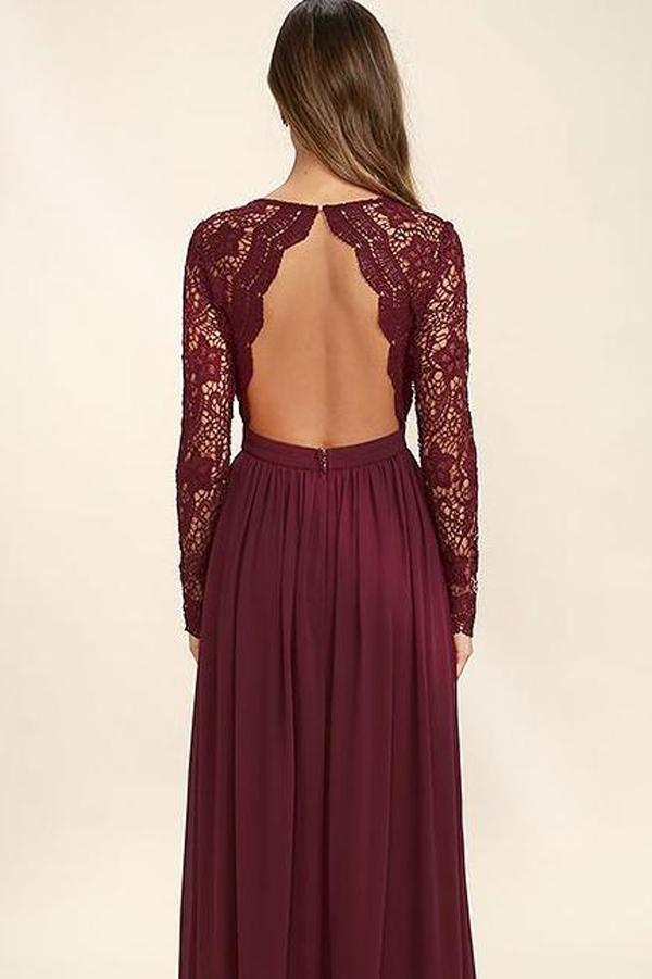 Burgundy Fashion V neck Long Sleeves Bridesmaid Dresses, Wedding Party Dress, MB111 at musebridals.com