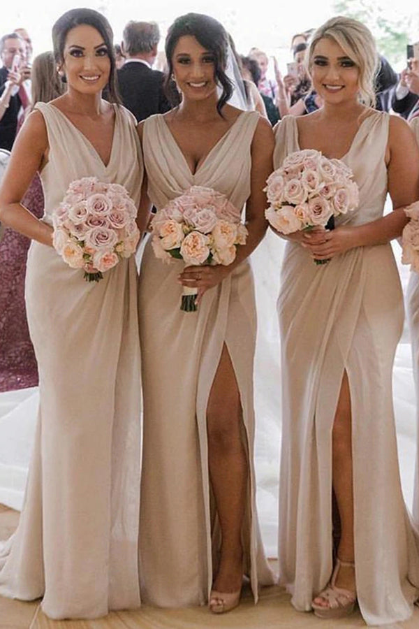 Simple Sheath Long Bridesmaid Dresses with Slit, Cheap Bridesmaid Dresses, MBD102