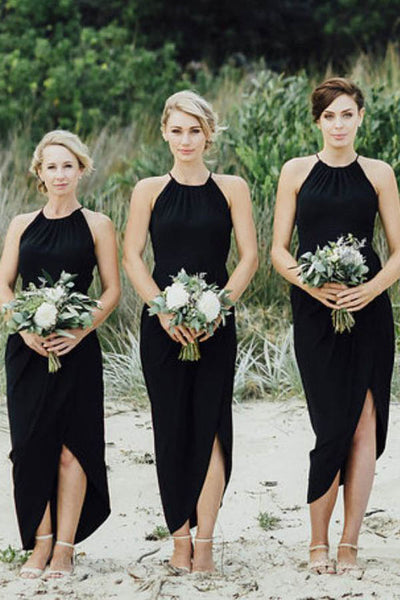 Simple Black Side Slit Short Bridesmaid Dresses, Cheap Unique Sequin Long Bridesmaid Gown,MBD115