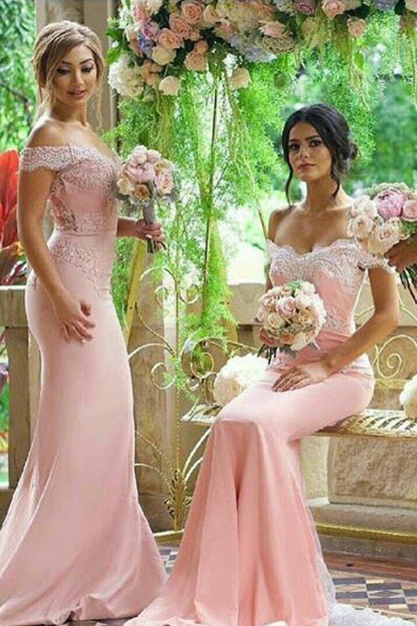 Beautiful Mermaid Pink Off Shoulder Lace Long Bridesmaid Dresses for Wedding Party,MBD116