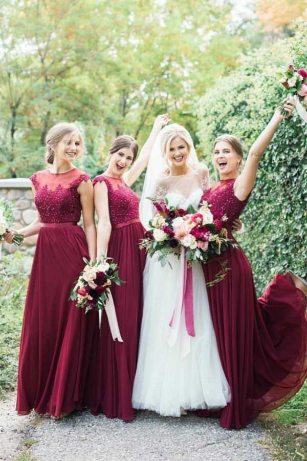 Burgundy Long Bridesmaid Dresses Moest Lace Applique Formal Dress,MBD123