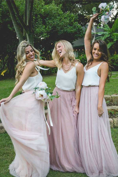 Simple Two Piece Bridesmaid Dresses Tulle Cheap Long Bridesmaid Dresses,MBD124