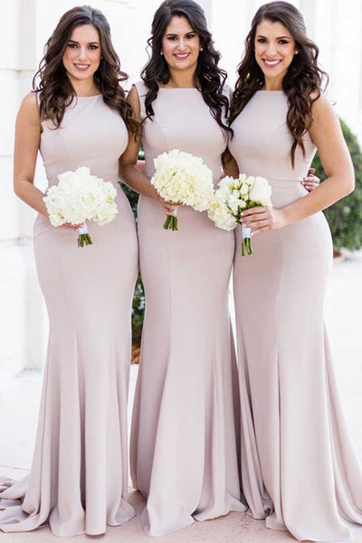Elegant Satin Mermaid Round Neck Light Purple Long Bridesmaid Dresses,MBD125