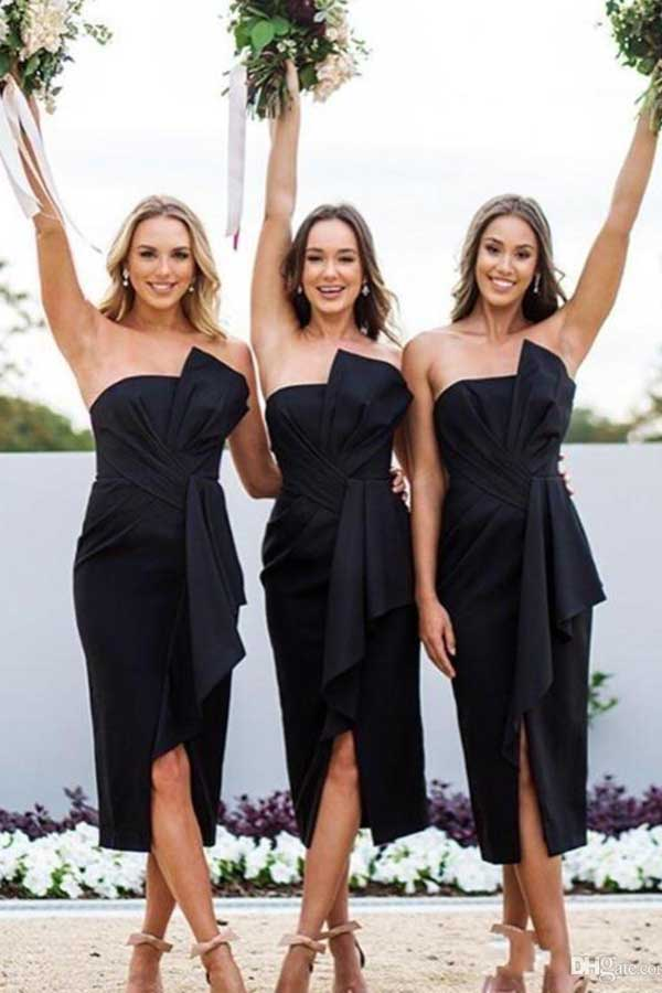 Sheath Bow Strapless Split Black Tea Length Bridesmaid Dresses, Fashion Outfits,MBD127