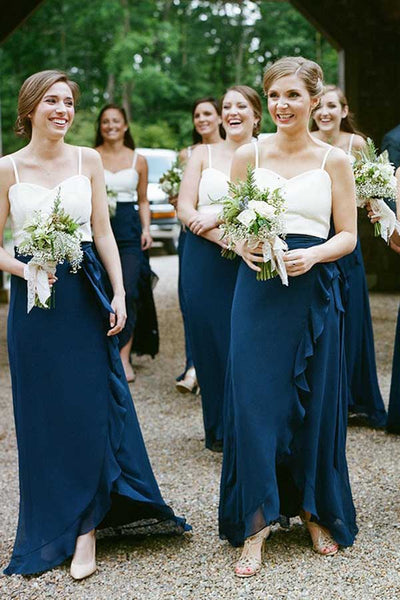 Charming Sheath Sweetheart Chiffon Navy and White Long Bridesmaid Dresses with Ruffled,MBD129