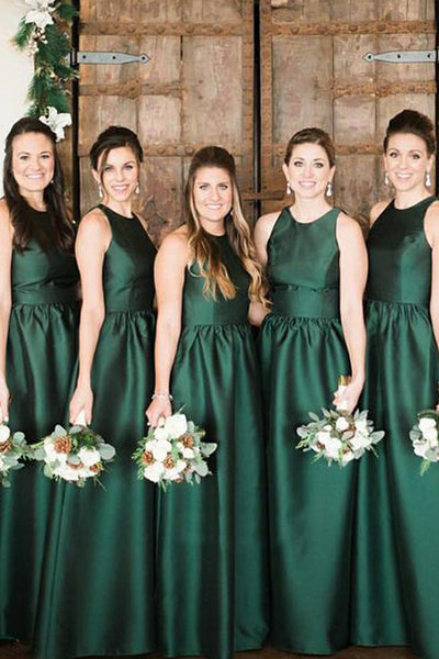 A-line Round Neck Green Satin Long Bridesmaid Dresses with Pockets,Simple Long Prom Dresses,MBD132