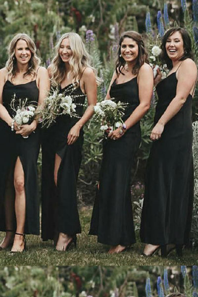 Cheap Black Mermaid Side Slit Spaghetti Straps Long Bridesmaid Dresses Online,MBD133