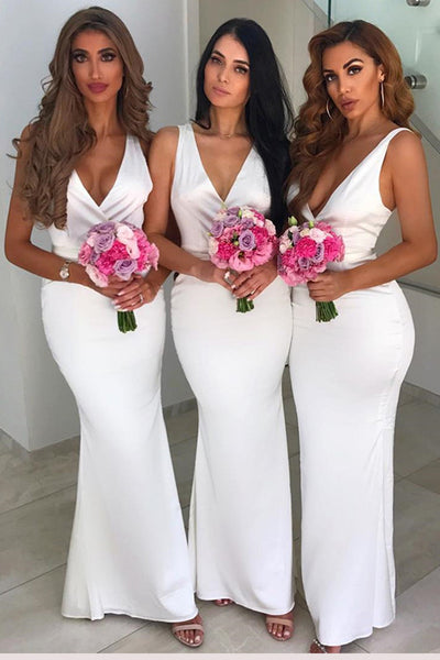 Cheap V-neck Mermaid White Sleeveless Long Bridesmaid Dresses Online,MBD135