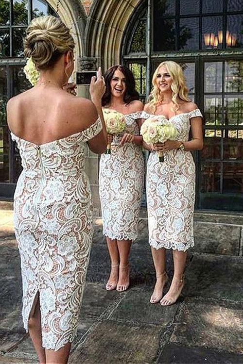 Sheath Off the Shoulder White Lace Long Bridesmaid Dresses,Elegant Bridesmaid Dresses,MBD136 | musebridals.com