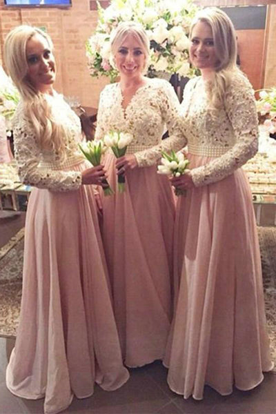 Elegant A-line V-neck Long Sleeves White Lace Long Bridesmaid Dresses with Pearls,Blush Bridesmaid Grown,MBD137