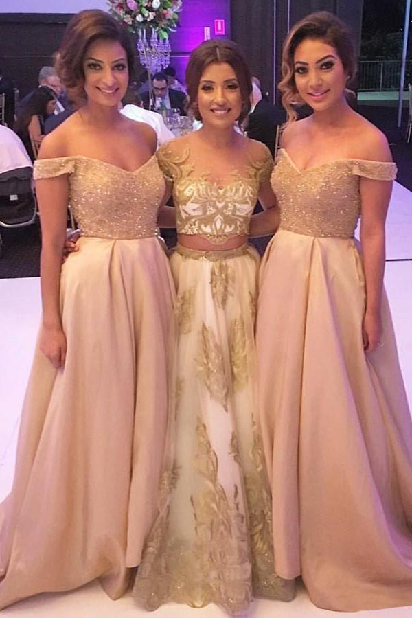Elegant A -line Off the Shoulder Lace Long Bridesmaid Dresses with Beading,MBD138