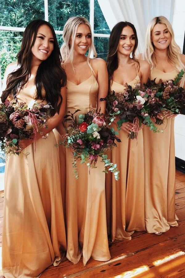 Elegant A-line Sweetheart Spaghetti Straps Gold Satin Long Bridesmaid Dresses,MBD141