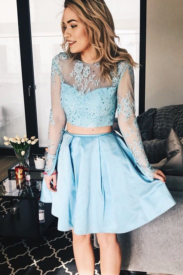 Sky Blue Long Sleeve See Through Two Piece Homecoming Dresses, MH430|musebridals.com