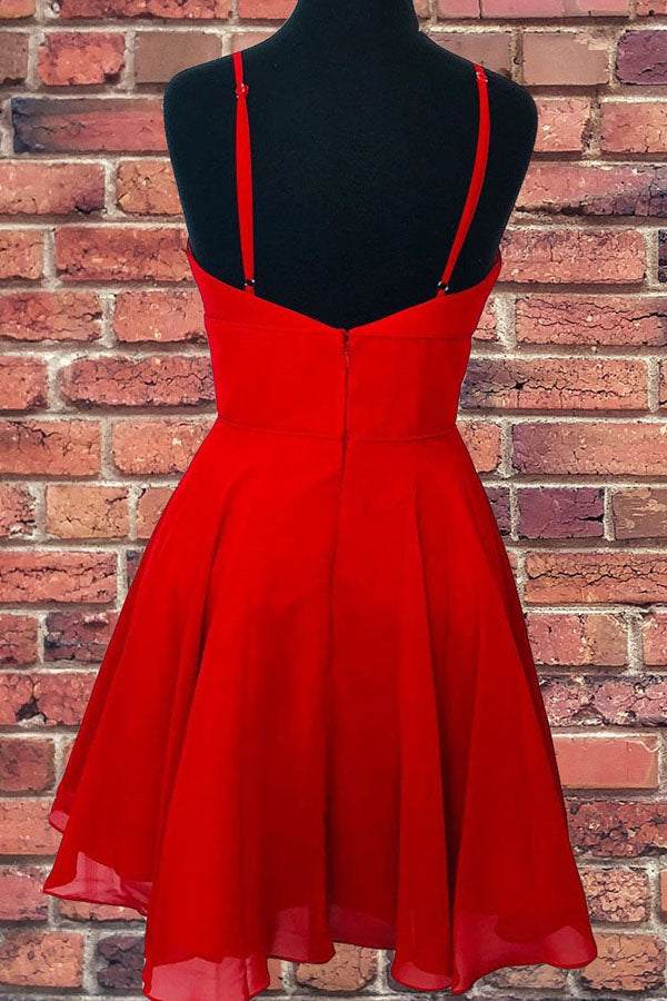 Musebridals.com offer Straps A-Line Chiffon Red Short Dress Homecoming Dresses, MH461