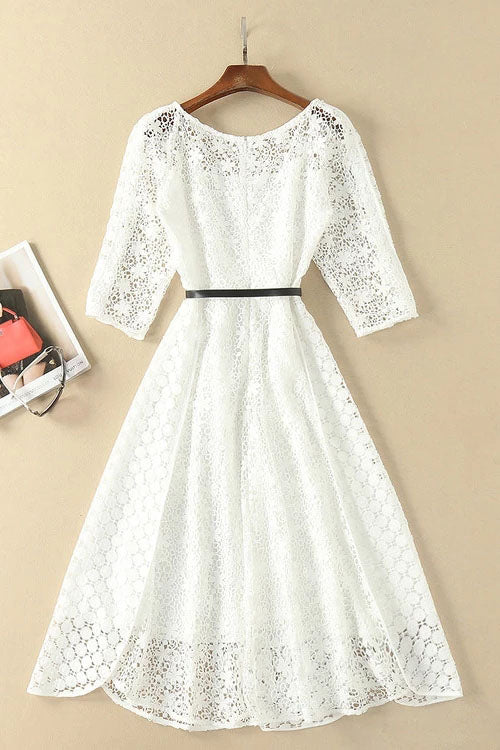 Musebridals.com offer Elegant White Half Sleeve Lace Round Neck Homecoming Dresses,MH466
