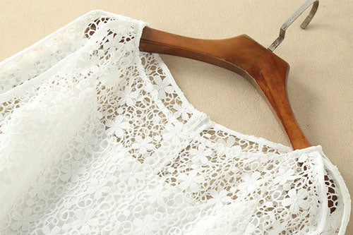 Elegant White Half Sleeve Lace Round Neck Homecoming Dresses,MH466
