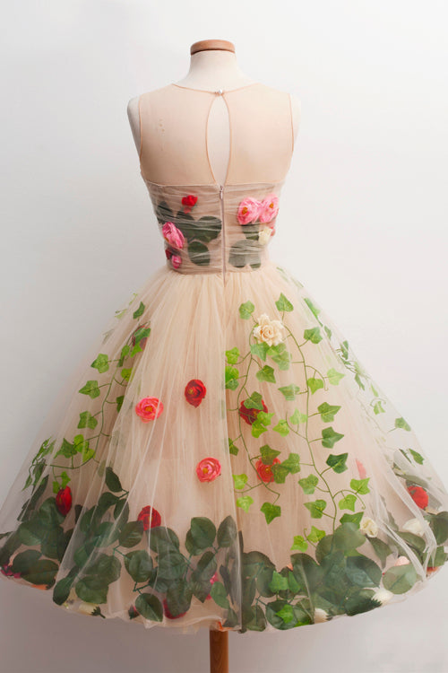 Musebridals.com offer A-Line Scoop Knee-Length Champagne Homecoming Dress with Red Flowers,MH476