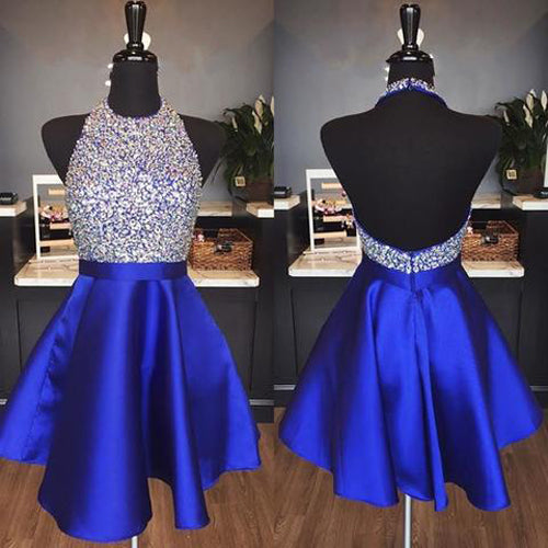 Musebridals.com offer Royal Blue Satin Backless Jewel Halter Sequins Crystal Homecoming Dresses,MH477