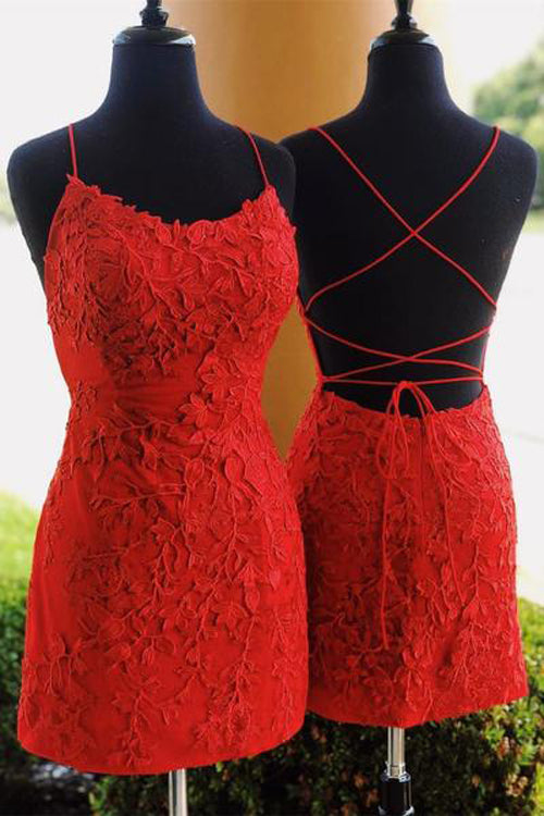 Musebridals.com offer Sheath Spaghetti Straps Cross Back Red Lace Short Homecoming Dresses,MH479