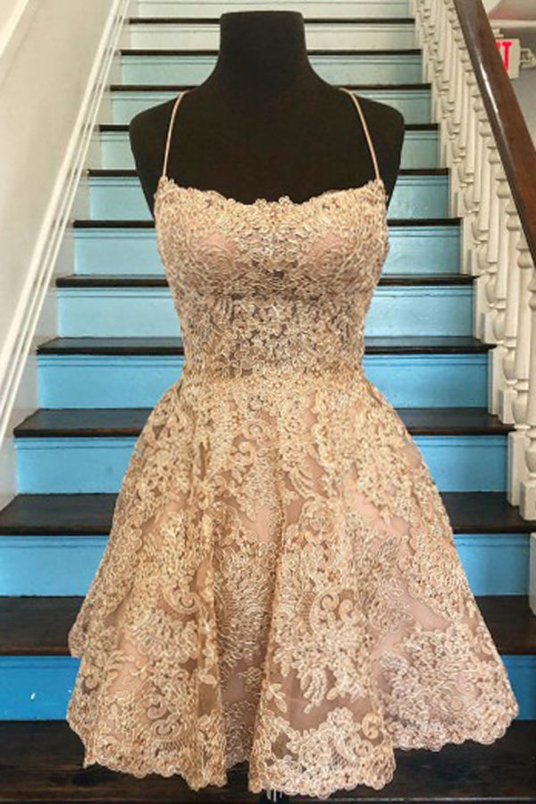 Musebridals.com offer Tulle A-line Lace Appliques Spaghetti Straps Homecoming Dresses ,MH486