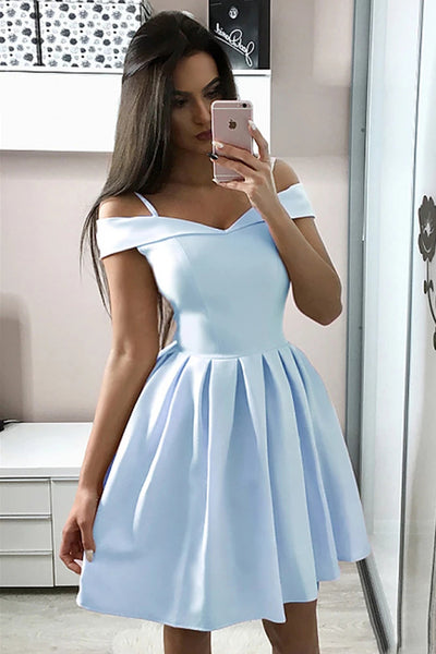 A-Line Off Shoulder Short Light Blue Graduation Homecoming Dresses,MH488|musebridals.com