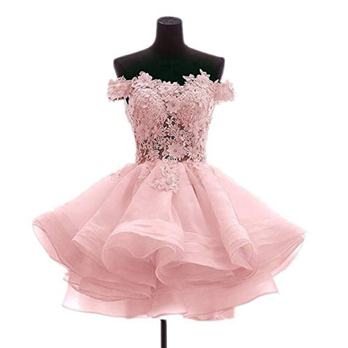 Musebridals.com offer Off The Shoulder Pink Lace Short Prom Dresses Sweetheart Homecoming Dresses,MH489