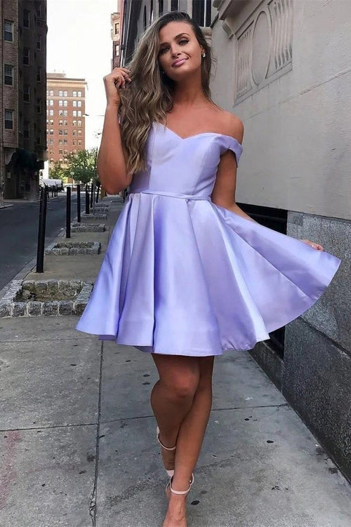 Simple Off the Shoulder Homecoming Dresses Cheap Lace up Homecoming Dress,MH497