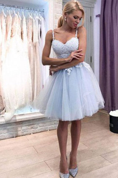 Musebridals.com offer Cheap Spaghetti Strap Lace Party Dress Tulle Homecoming Dresses,MH498