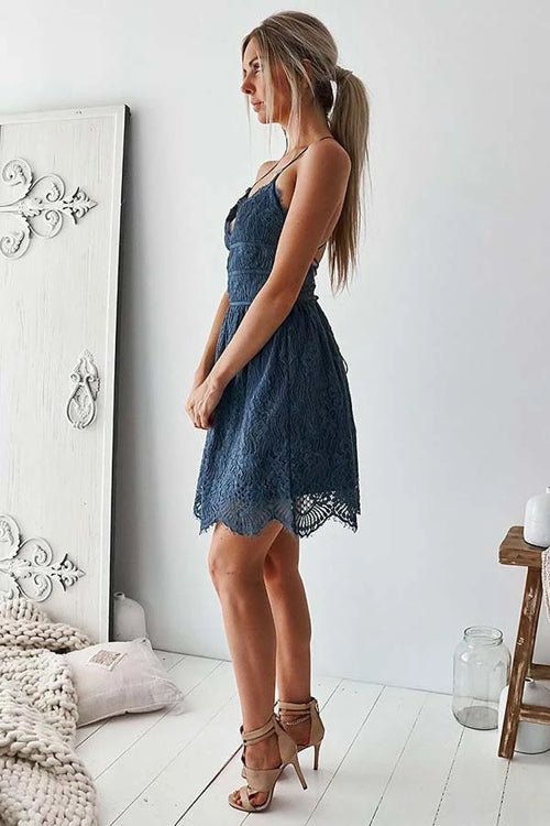 A-Line Spaghetti Straps V-neck Navy Blue Lace Homecoming Party Dress,MH503