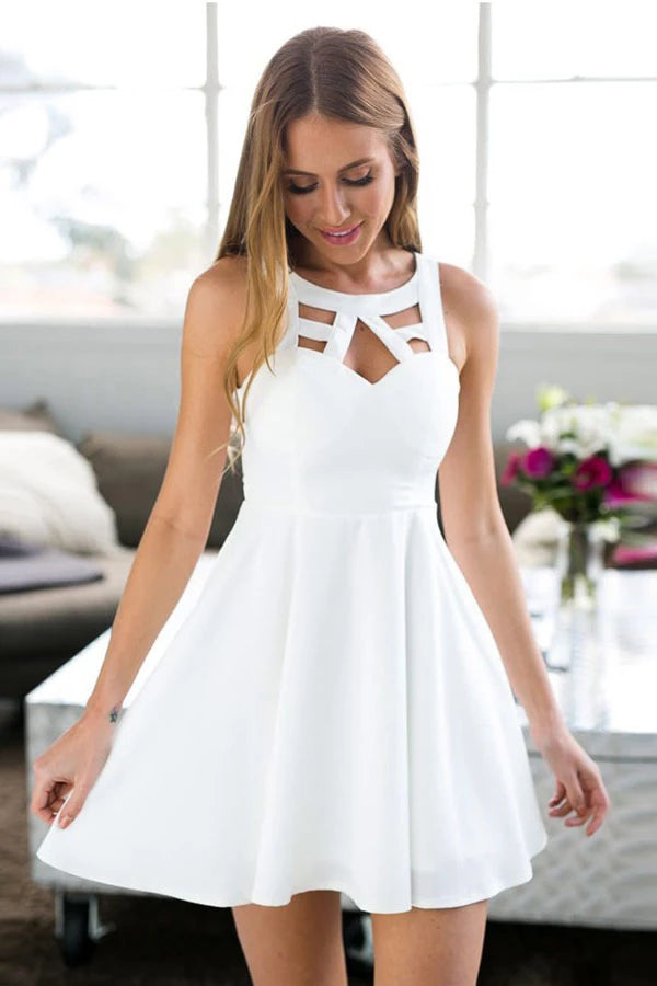 A-Line Jewel Short White Satin Sleeveless Homecoming Dress with Lace,MH504|musebridals.com