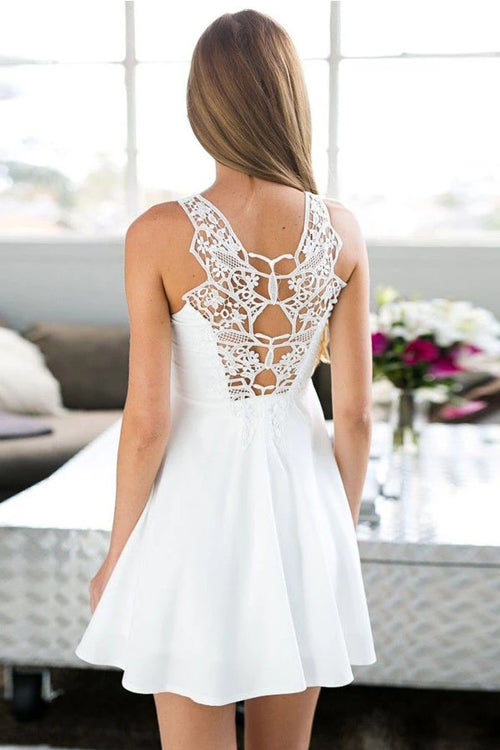 Musebridals.com offer A-Line Jewel Short White Satin Sleeveless Homecoming Dress with Lace,MH504