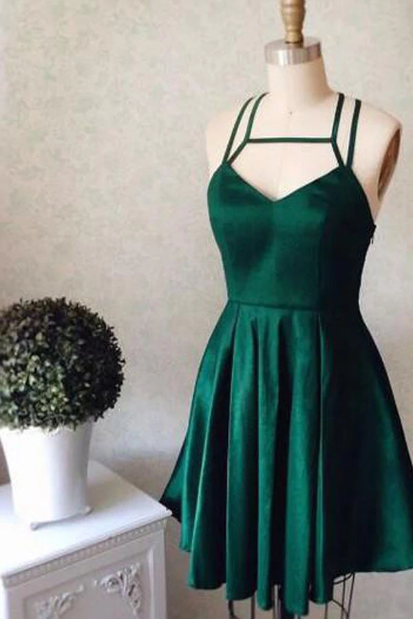 Cheap Halter Dark Green Homecoming Dress Short Prom Dress Party Dress,MH507|musebridals.com