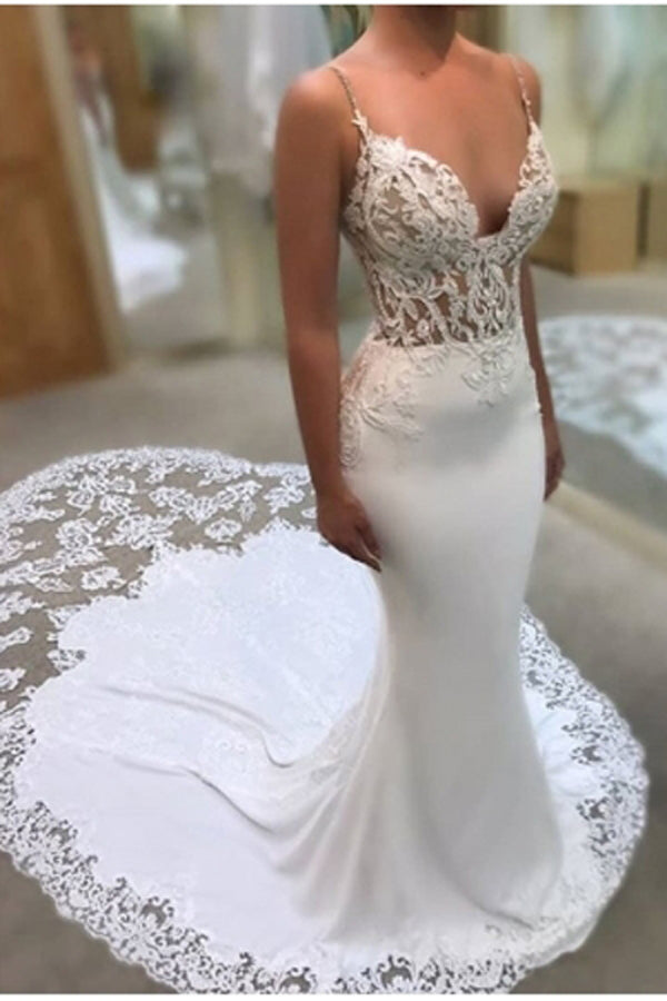Glamorous Spaghetti-Straps Lace Wedding Dress Mermaid Bridal Gowns,MW290|musebridals.com
