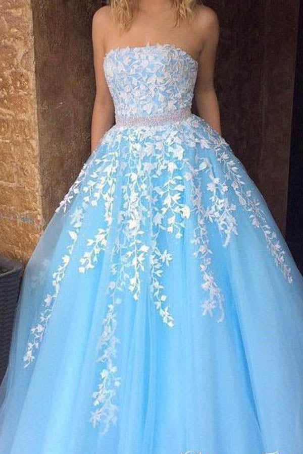 Musebridals.com offer Sky Blue Princess A-line Lace Appliqued Tulle Long Strapless Prom Dresses,MP431