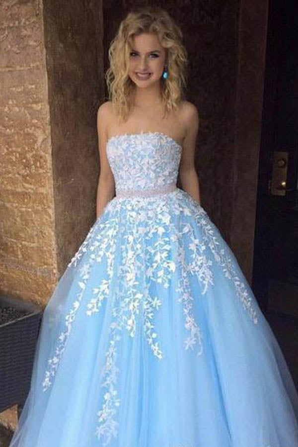 Sky Blue Princess A-line Lace Appliqued Tulle Long Strapless Prom Dresses,MP431