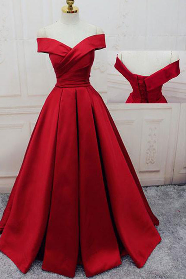 Off-the-shoulder Burgundy Long Satin Prom Dress/Evening Dress,MP437