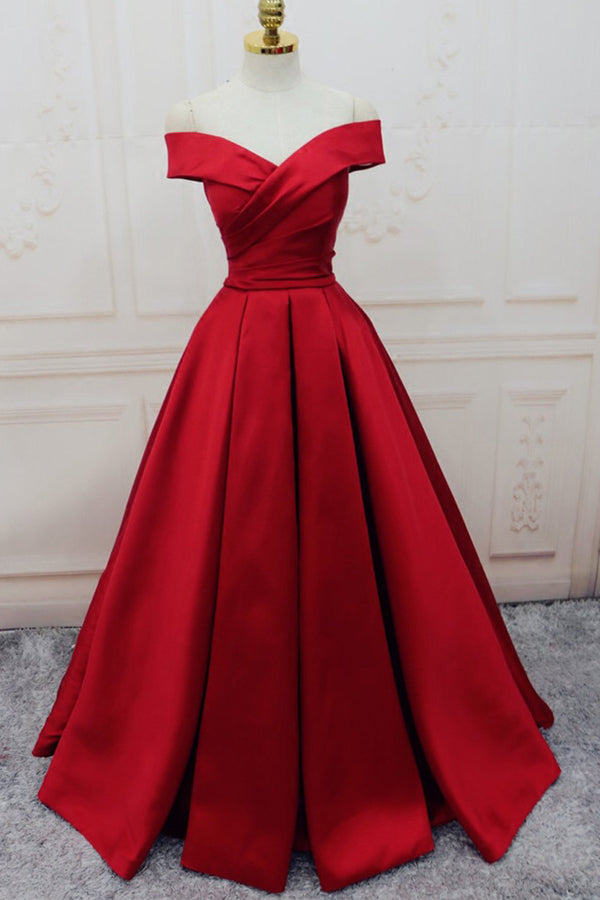 Off-the-shoulder Burgundy Long Satin Prom Dress/Evening Dress,MP437 at musebridals.com