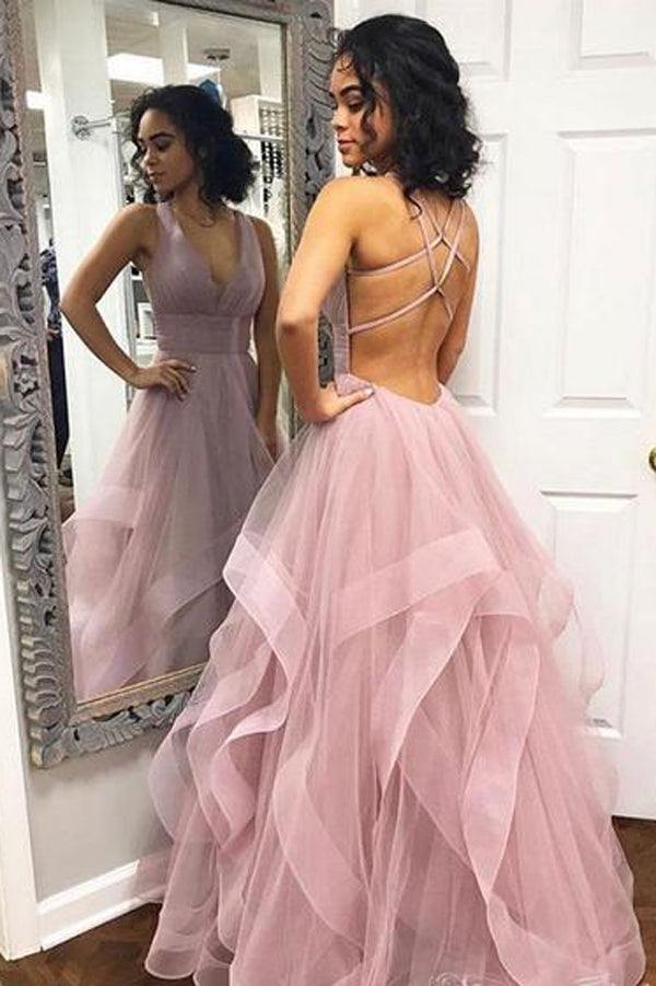 30f4b992bf V-neck Simple Dusty Rose Long Prom Dresses with Straps and Ruffle  Skirt,MP440